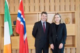 Marine Institute chief executive Dr Peter Heffernan with Norwegian Ambassador to Ireland Else Berit Eikeland on Thursday 23 February