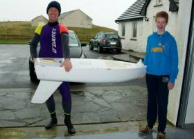 Keith Roberts and his son, Graham, discovered CFCC's unmanned research vessel while kayaking in Ireland. The boat has traveled 6,000 miles in eight months