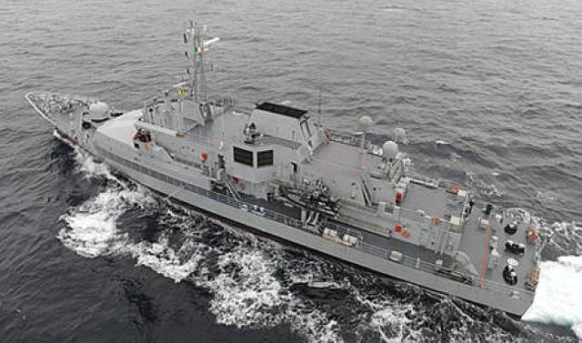 L.É. Róisín.the first of three Naval Service OPV's to be deployed on rotational basis to assist humanitarian mission in the Mediterranean