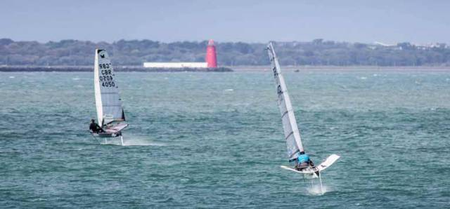 Foiling Moths competing for Irish honours on Dublin Bay