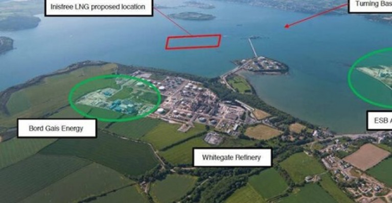 The proposed liquified natural gas terminal location in Cork Harbour. Projects such as this would have been banned under the amendment, had it passed.