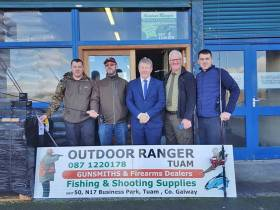 Gerard Kelly of Outdoor Ranger with international fly-tyer Owen Trill, Minister Sean Canney, Pat Gorman of Inland Fisheries Ireland and Outdoor Ranger's Damien Kelly