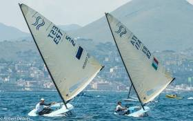 Estonian Deniss Karpak masters light winds on first day of Finn Gold Cup in Gaeta