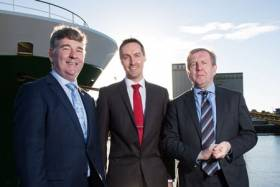Dr Gerard McCarthy of Maynooth University (centre) with Marine Institute chief executive Dr Peter Heffernan (left) and Marine Minister Michael Creed