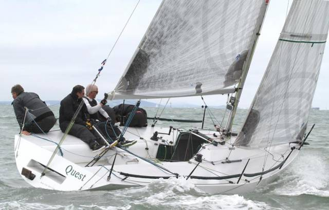 RIYC yacht Quest will be competing in the Round the Island Race on the Solent. Pictured at the recent Quarter Ton Cup is Barry Cunningham steering, co-owner Johnny Skerritt at the stern, Maurice O'Connell on mainsheet/ tactics, then trimmer Alan Crosbie and bowman Eddie O'Rahilly hiking