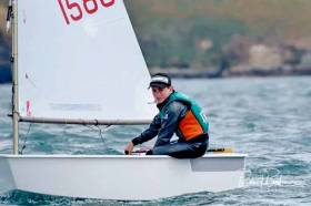 James Dwyer-Matthews pictured in his home waters of Kinsale at the 2018 Irish Nationals