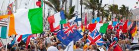 Flags of the nations, including Ireland, at today's opening ARC ceremony in Las Palmas de Gran Canaria