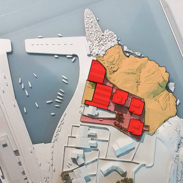 A model of the proposed mixed use development in Bulloch Harbour, Dalkey, Co. Dublin. Bartra Property is seeking planning permission at the site of the former premises of Western Marine. The above development plan (buildings marked in red by campaigners Save Bulloch Harbour) who Afloat add are to discuss at a public meeting on Tuesday 23 January (7.30pm) in the Royal Marine Hotel, Dun Laoghaire. Western Marine sold the premises in 2016, however the business remains operating to include a sales office located in nearby Glenageary.