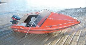 The red Fletcher speedboat after the incident in December 2015 that claimed the life of 24-year-old Charlotte Brown