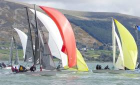 Tight racing for the SB20 fleet at their first spreader mark in race 6 on Carlingford Lough in County Louth