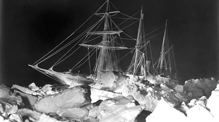 Shackleton's ship Endurance embedded in the Antarctic ice of the Weddell Sea – one of Frank Hurley's remarkable photos which have done so much to immortalise an extraordinary expedition.