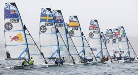 Irish 49erfx pair Andrea Brewster and Saskia Tidey of the Royal Irish YC make a good start in Weymouth today