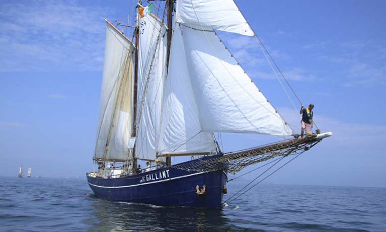 A Tall Ship visit on Dublin Bay during a Sail Traing Ireland event on the river Liffey