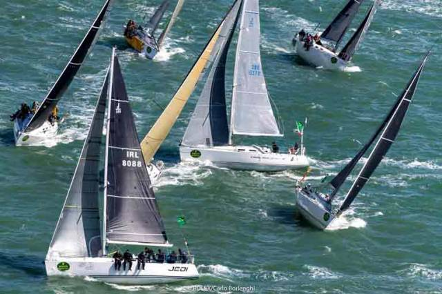 The start of something big. The Irish National Sailing School's J/109 Jedi (IRL 8088, skipper Kenneth Rumball) gets away with a close start on Sunday in the Rolex Fastnet Race 2017. She finished first in Class 3B