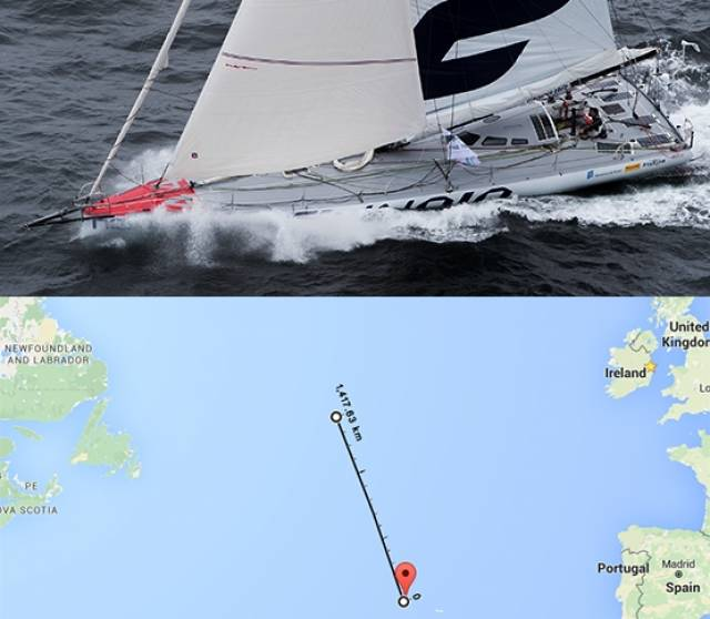 (Top) The abandoned IMOCA 60 Yacht and (above) its possible location in mid–Atlantic