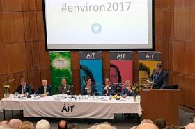 Minister of State for Flood Relief Seán Canney addresses Environ 2017 in Athlone on Monday 10 April