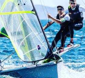 By their own admission, Ryan Seaton and Seafra Guilfoyle (above) 'made life difficult for themselves' at the 49er Europeans but the Irish pair are through to gold fleet racing