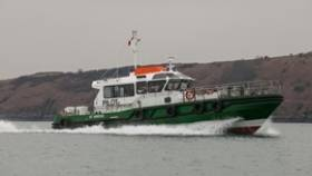 New pilot boat cutter, St. Brides underway on Milford Haven Waterway