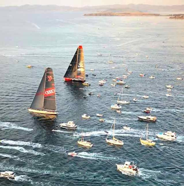 The moment of truth. With less than ten miles to the finish on the Hobart waterfront and the wind almost gone, Wild Oats (foreground) gets ahead of LDV Comanche, and stays ahead.