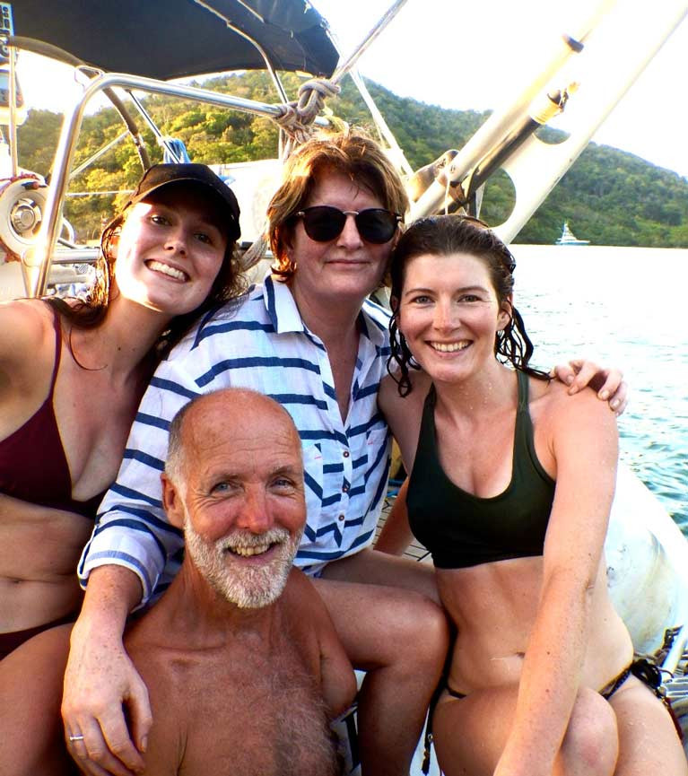 Atlantic voyager Garry Crothers with wife Marie and daughters Oonagh (left) and Amy (right) aboard their Ovni 435 Kind of Blue in the Caribbean