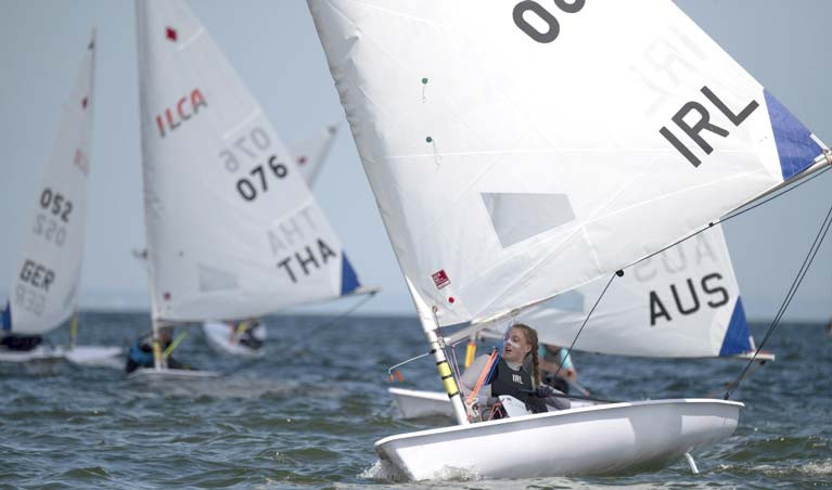 Howth's Eve McMahon on her way to a top 20 result after the first day of the Laser Radial Worlds in Melbourne