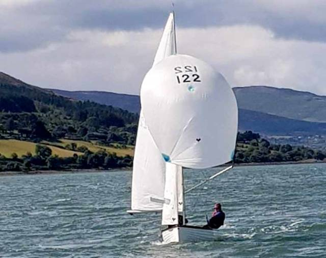 "Newly-partnered Catherine Martin and Brian Murphy in 14/122 ""Diane"" of Dun Laoghaire Motor Yacht Club raced superbly, keeping tight to the shore to avoid the strong tide and won two of the three races"