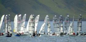 The Irish RS400 fleet at Red Bay in Cushendall County Antrim