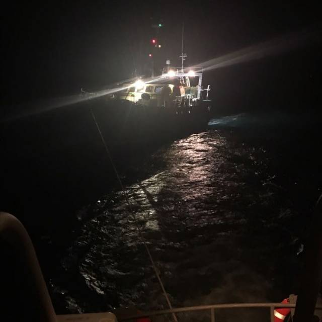 Courtmacsherry RNLI tows the trawler to the safety of Kinsale Harbour on Saturday night during Ireland's match with Denmark