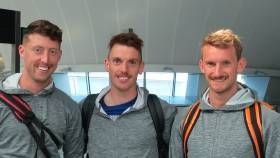 Mark O'Donovan, Shane O'Driscoll and Gary O'Donovan at Dublin Airport.
