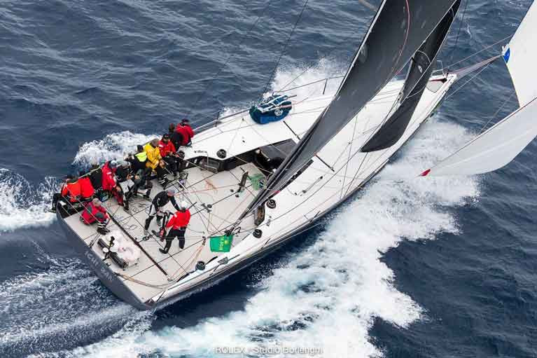 Hot favourite in a heatwave: Matt Allen's Botin TP 52 Ichi Ban 2 – with Gordon Maguire (on helm here) as sailing master - is reckoned to be the banker for next Thursday's 75th Rolex Sydney-Hobart Race.