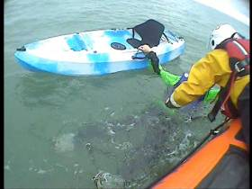 Youghal RNLI recovers the kayaker from the sea a mile off Redbarn beach in East Cork