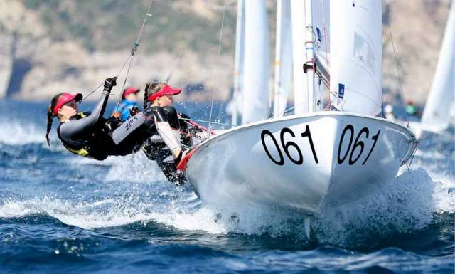 Nicola and Fiona Ferguson of the National Yacht Club competing in the 420 Junior Europeans this year