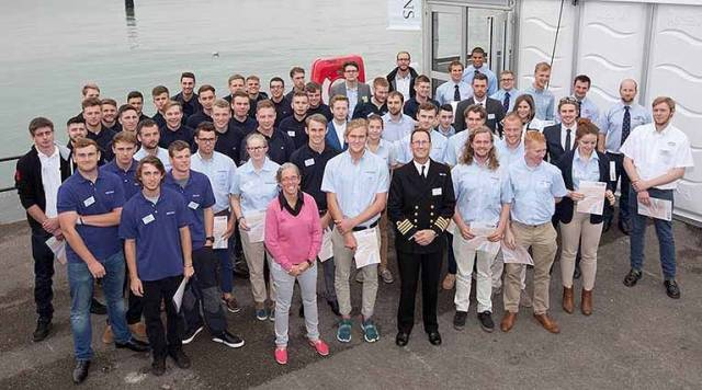 Apprentices at the 2016 Apprenticeship Graduation Awards with guest speakers, Captain Matt Bolton and Libby Greenhalgh