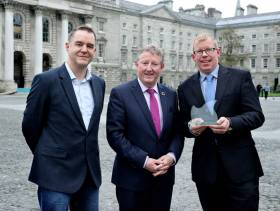 Prof Andrew Bowie, TCD with Minister of State Sean Canney and Dr Ciaran Byrne, CEO of Inland Fisheries Ireland