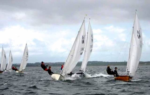 The IDRA 14 fleet at their Nationals 2017 which concluded on Saturday at Galway Bay SC. The diverse wooden and glassfibre fleet included Number 1, Chimaera (Killian Sargent, right,) which was built in 1946
