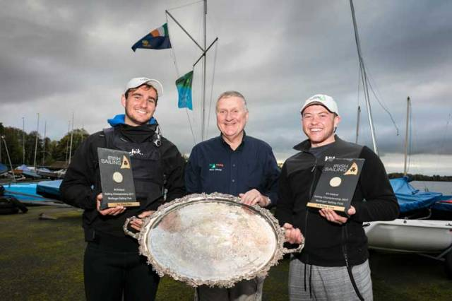 2017 All Ireland Champion Fionn Lyden (left) with Irish Sailing President Jack Roy and crew Liam Manning at Mullingar SC on Lough Owel this evening