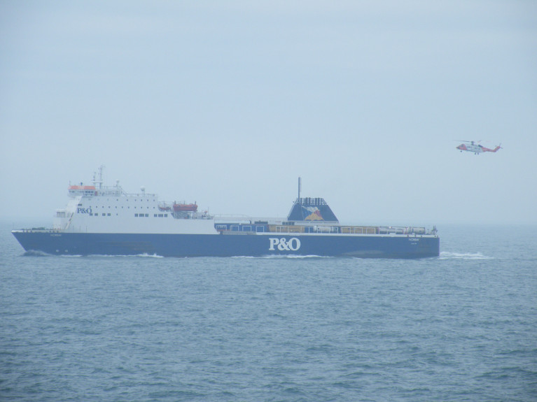 P&O is struggling to convince UK ministers to agree to put in £150m from taxpayers. The ferry firm delivers around 15pc of all the goods imported into Britain. Above AFLOAT adds in this file photo is underway on the Irish Sea P&O's Dublin-Liverpool freight/passenger (ropax) ferry Norbay. Note astern of the freight trailers on the upper deck is an Irish Coast Guard helicopter on a training exercise.