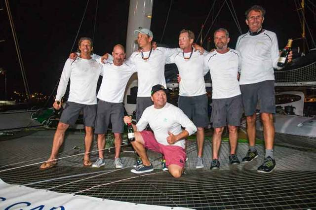 Phaedo^3 with County Kerry's Damian Foxall (second from right) onboard took multihull line honours in the RORC Caribbean C600.