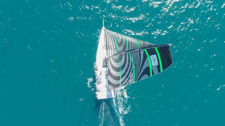 The TP52 Quantum Racing showing her Fusion upwind sails