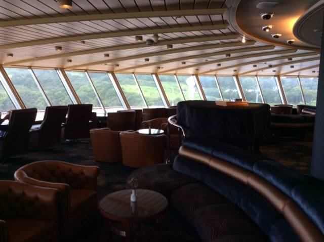 The forward observation lounge above the bridge of HAL's cruiseship, Prinsendam berthed yesterday at Killybegs with the lush green hills surrounding the port. Today the 700 plus passenger cruiseship is at anchorage in Galway Bay