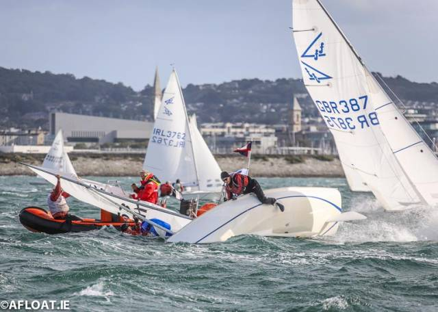 Drama at September's Subaru Flying Fifteen World Championships with one boat receiving rescue boat assistance after a capsize in the breezy conditions that prevailed on Dublin Bay