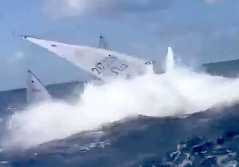Lanzarote Wave Wipe Out for Annalise Murphy. See video below