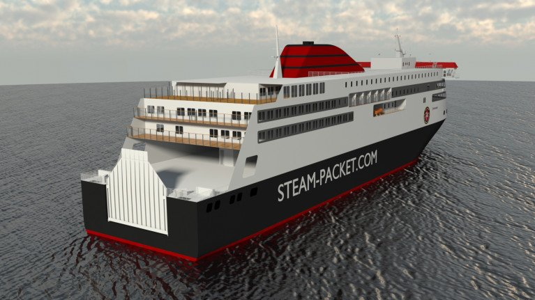 A computer-aided-design (CAD) image of the ferry newbuild for Isle of Man which is due to enter service in 2023. The ropax will be flagged with the Isle of Man Ship Registry.