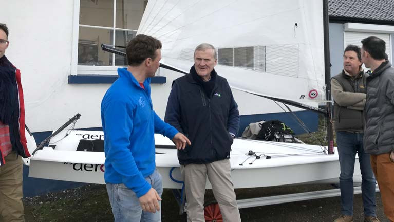 Irish Sailing President Jack Roy (pictured centre) with RS Aero sailors at the INSS Open Day in Dun Laoghaire