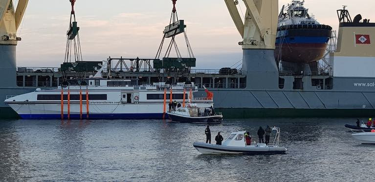 New Fast Ferry for the Aran Islands Unloaded in Galway Bay