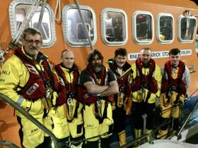 The Courtmacsherry Lifeboat Crew on Callout as they arrive back into Courtmacsherry at 4 am this morning: Sean O Farrell, Mechanic Tadgh McCarthy and Crew members Ken Cashman, Denis Murphy, Evin O Sullivan and Conor Tyndall