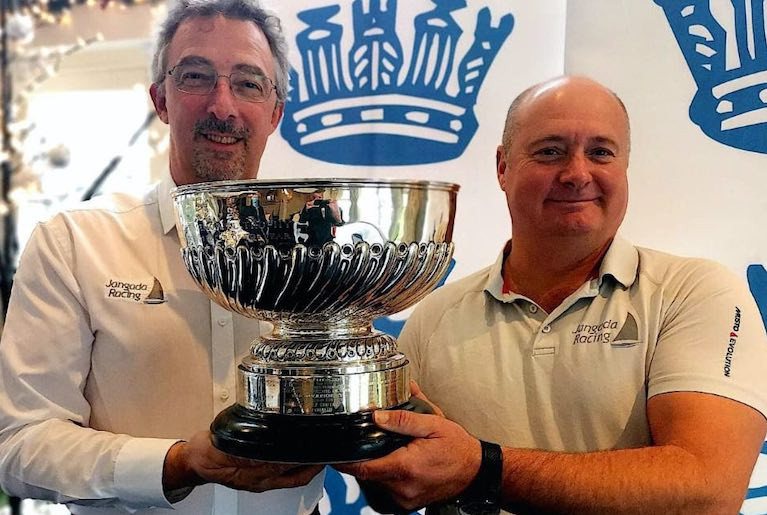 Jangada, Richard Palmer's British JPK 10.10 announced as RORC Yacht of the Year 2020. L to R: Richard Palmer and Jeremy Waitt with the Somerset Memorial Trophy.