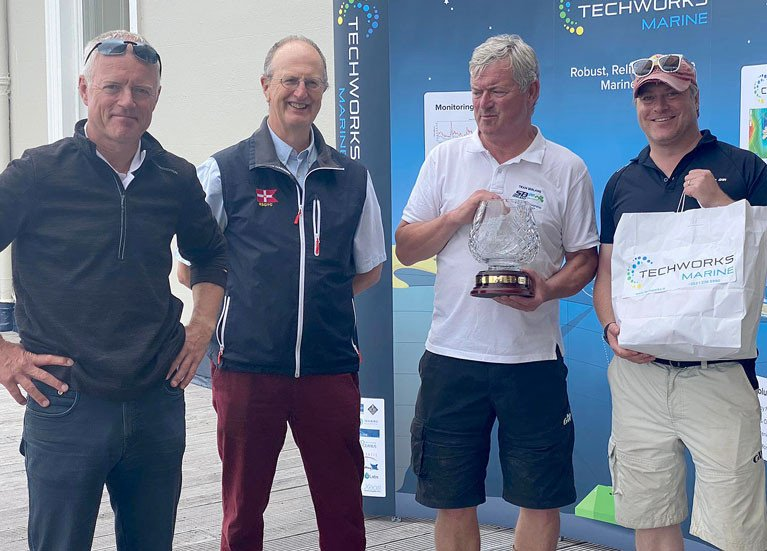 SB20 winners at the RSTGYC - Bád Jimmy Dowling, Royal St George Commodore Peter Bowring, Jerry Dowling and Stefan Hyde