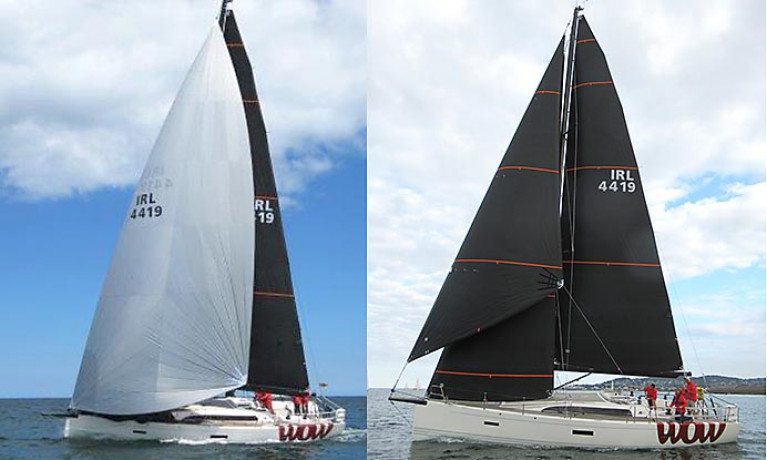 A code zero (left) and a Flying Jib on Dublin Bay cruiser WOW!