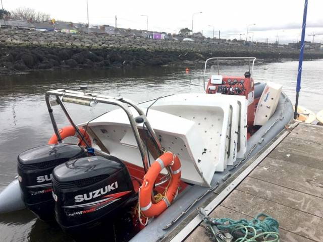 Irish National Sailing School Optimist training dinghies. transported by INSS RIB. arrive at Poolbeg Yacht Boat & Club for Easter Junior Sailing Courses in Dublin City Centre